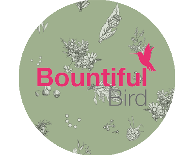 Bountiful Bird logo with herbal background